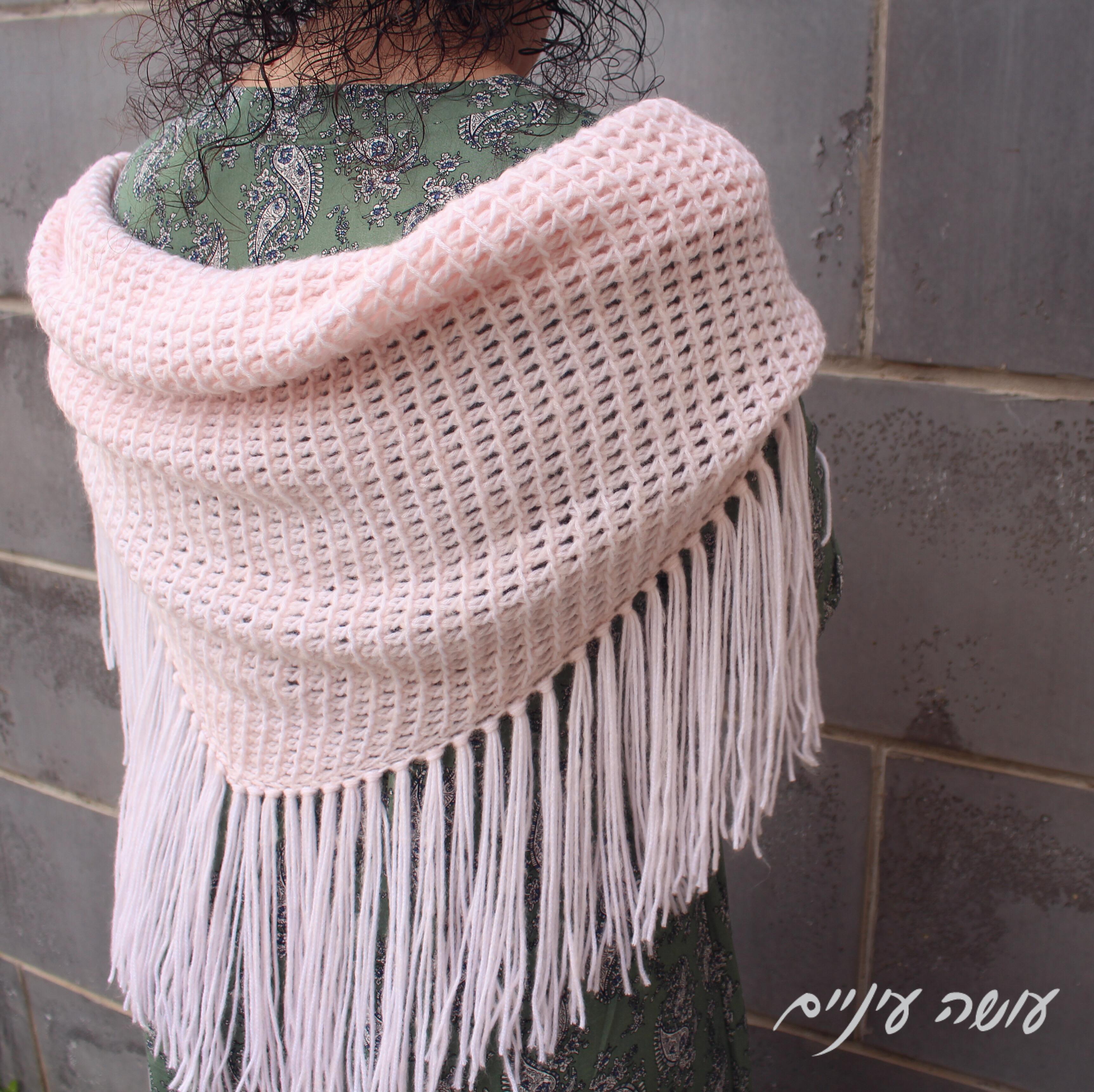 עושה עיניים - צעיף סרוג בסריגה טוניסאית - Daydream shawl